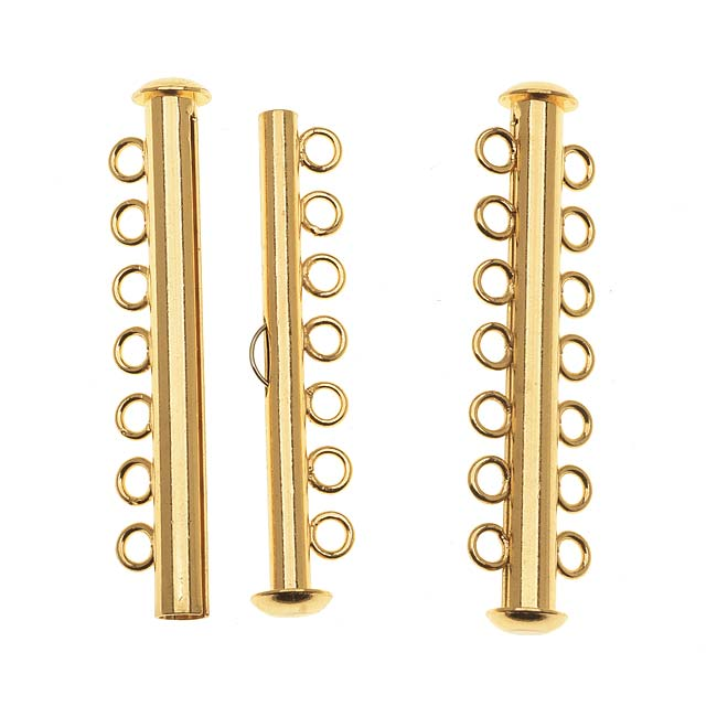 Gold Tone Tube Clasp 41.5mm Seven Rings Strands (2)
