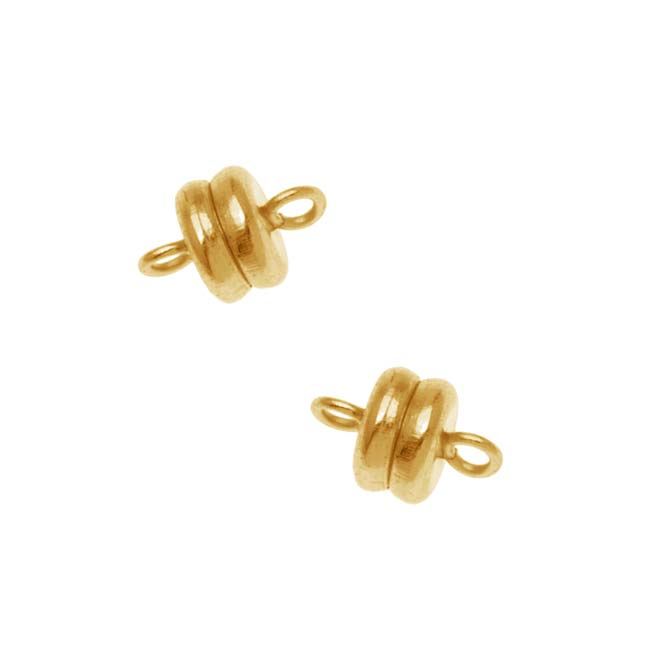 Magnetic Clasp, 6x4.5mm, 4 Clasp Sets, 22K Gold Plated