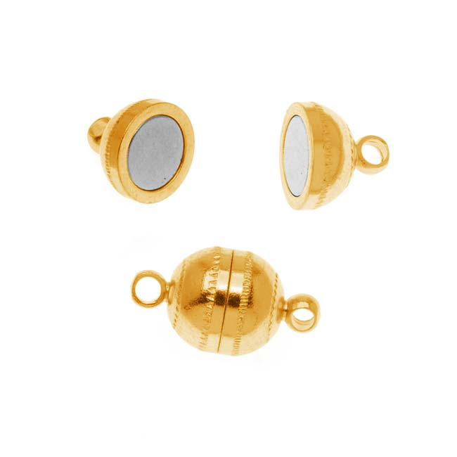 The Beadsmith Magnetic Clasp, Round Capsule 9x8mm, 2 Sets, 22K Gold Plated