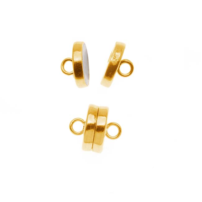 The Beadsmith Magnetic Clasp, Flat Round 8mm, 2 Sets, Gold Tone