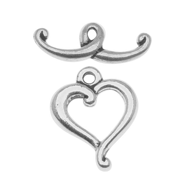 TierraCast Silver Plated Pewter Scroll Heart Toggle Clasp 14mm