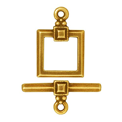 TierraCast 22K Gold Plated Pewter Deco Square Toggle Clasp 12.5mm (1)