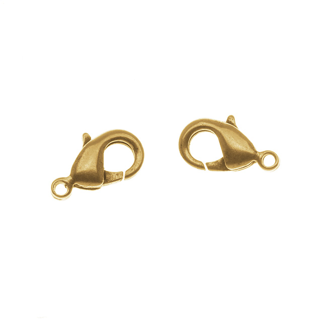 Nunn Design Lobster Clasps, Curve 12mm, 2 Pieces, 24K Antiqued Gold Plated