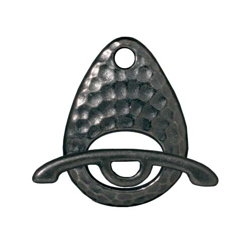 TierraCast Black Finish Pewter Hammertone Ellipse Toggle Clasp 16mm (1)