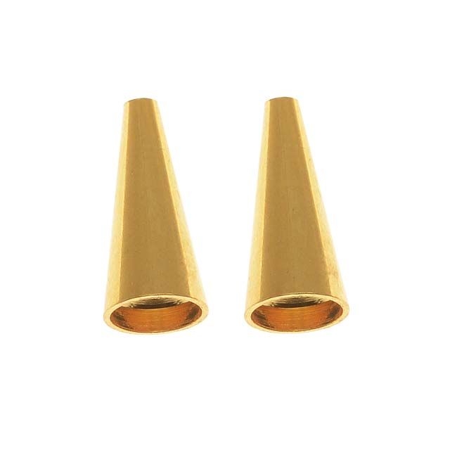Gold Plated Beading Cone / Strand Reducer 12.5x5.5mm (2 Pieces)