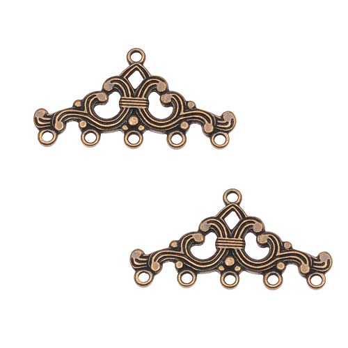 Antiqued Brass Ornate Five Bead Strand Reducer Connector (2)