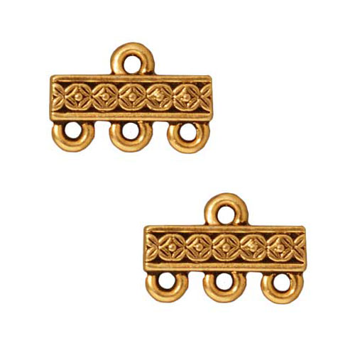 TierraCast 22K Gold Plated Pewter Deco Rose 3-Strand Reducer Beads (2)