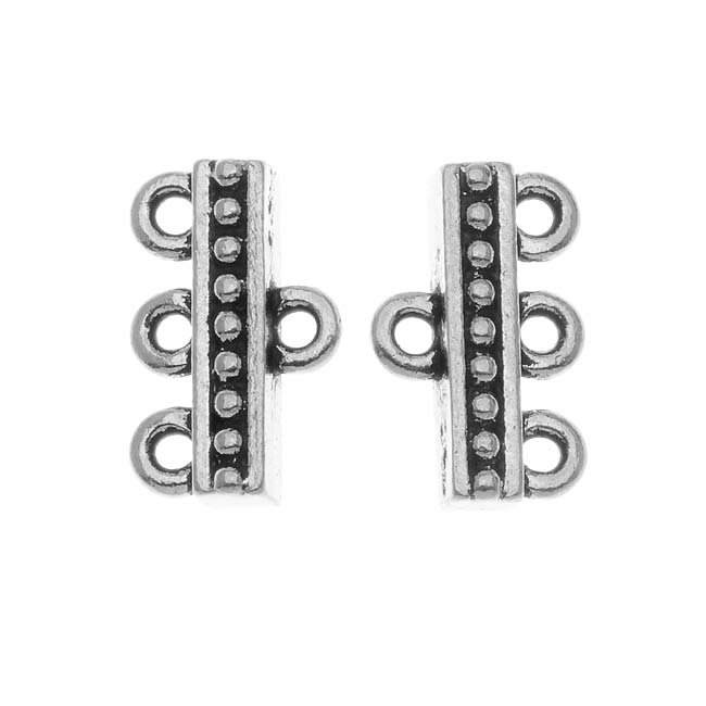 TierraCast Fine Silver Plated Pewter 3-Strand Reducer Bead Bars 14.8mm (2)