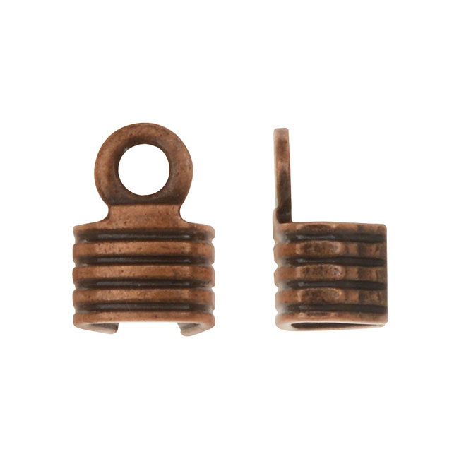 Fold Over Crimp Ends, For Finishing Cords 6x4mm, 50 Pieces, Antiqued Copper