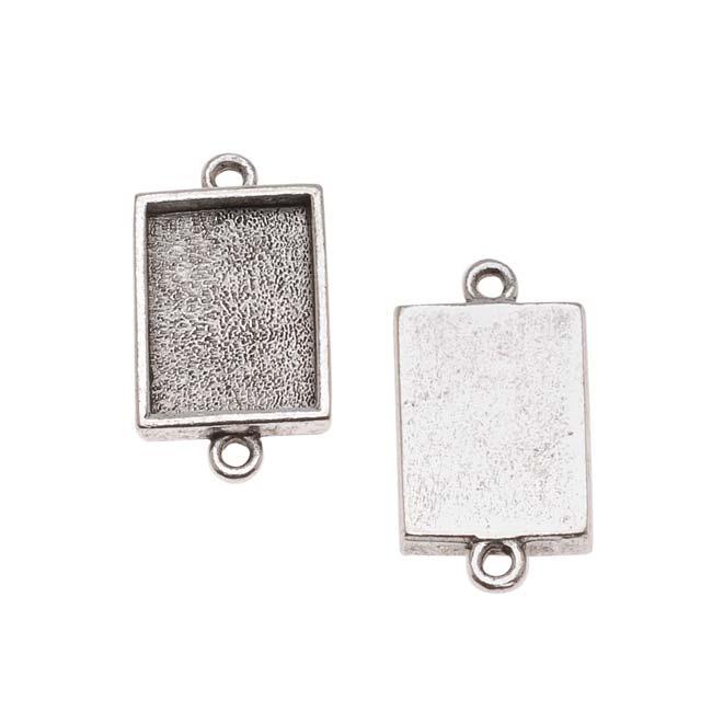 Nunn Design Antiqued Silver Plated Bezel Pendant Rectangle Link 14mm