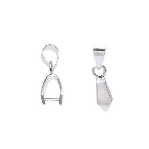 Beadalon Silver Plated 3mm Slider Pinch Bail For Gemstone & Crystal Pendants (6)