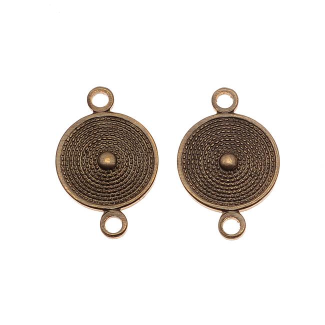 Vintaj Natural Brass Mediterranean Shield 2 Hole Connector Beads 16 x 10mm (2)