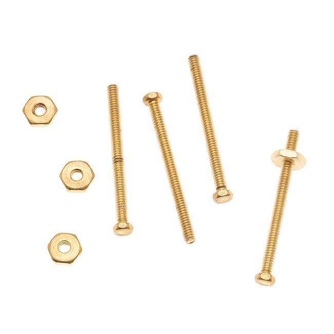 Nunn Design Brass 3/4 Inch Hex Micro Screw And Nut Set 1.5mm Wide (4)