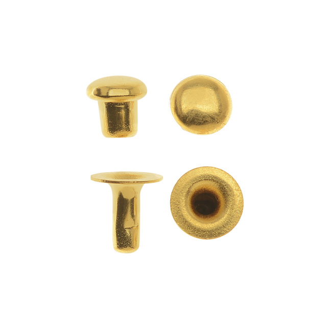 TierraCast Double Round Cap Compression Rivets 4mm, 10 Sets, 22K Gold Plated