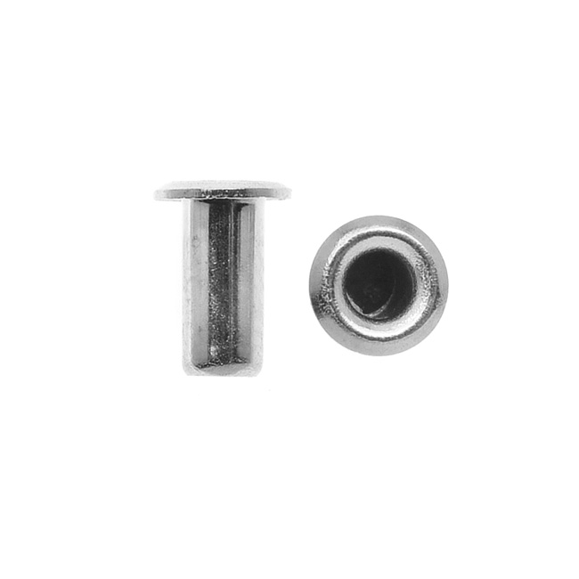 TierraCast Hollow Eyelets for Leather 5.2mm Long 3.7mm Diameter, 10 Pieces, Silver Plated