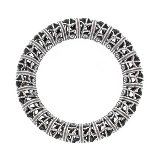 Antiqued Silver Plated Filigree Ring Large Circle Pendant Link 32mm (1)