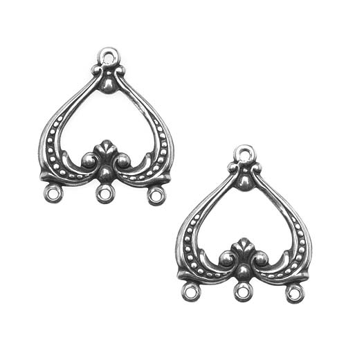 Antiqued Silver Plated 3 To 1 Fancy Heart Chandelier Earring Connectors (2)