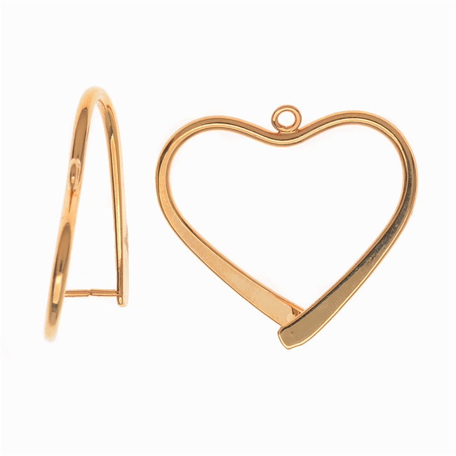 Pinch Bail for Pendants, Heart Shaped, 26.5mm, 2 Pieces, Gold Plated
