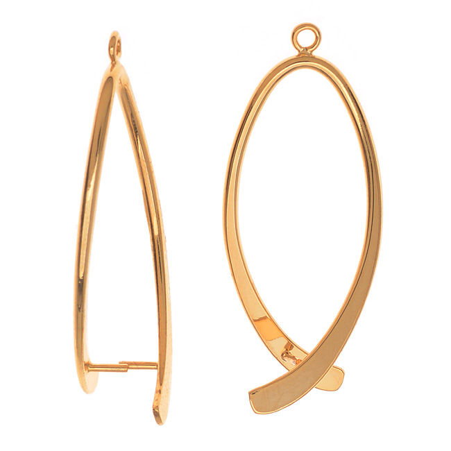Pinch Bail for Pendants, Oval Shaped, 38mm, 2 Pieces, Gold Plated