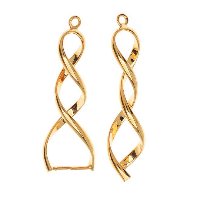 Pinch Bail for Pendants, Double Twist, 35mm, 2 Pieces, Gold Plated