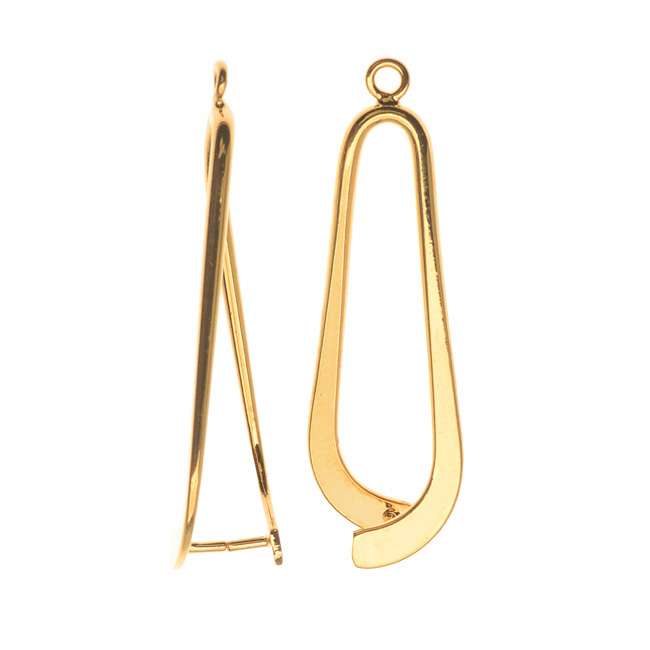 Pinch Bail for Pendants, Tear Drop Design, 34mm, 2 Pieces, Gold Plated
