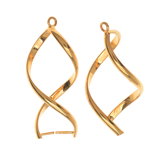 Pinch Bail for Earrings or Pendants, Single Twist, 32mm, 2 Pieces, Gold Plated