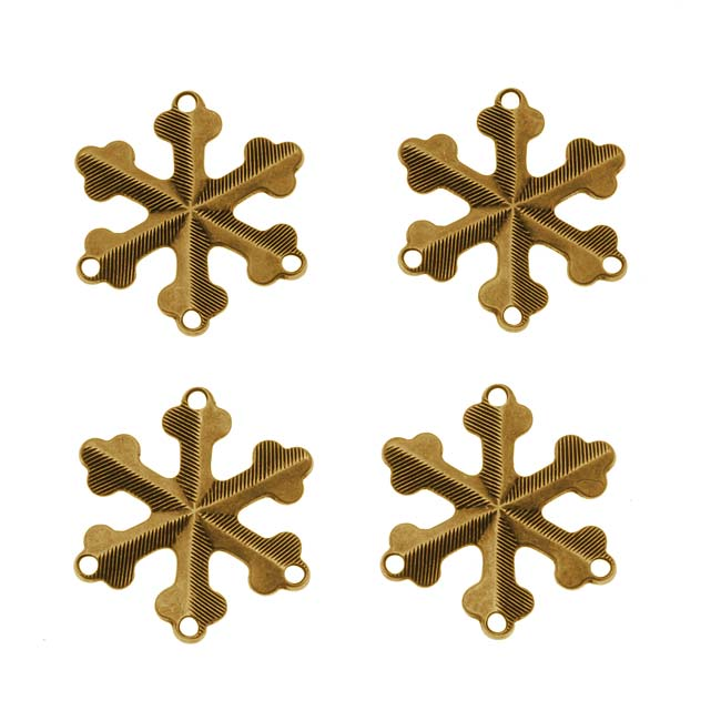 Antiqued Brass Snowflake 3-Strand Reducer / Connector Beads 18mm (4)