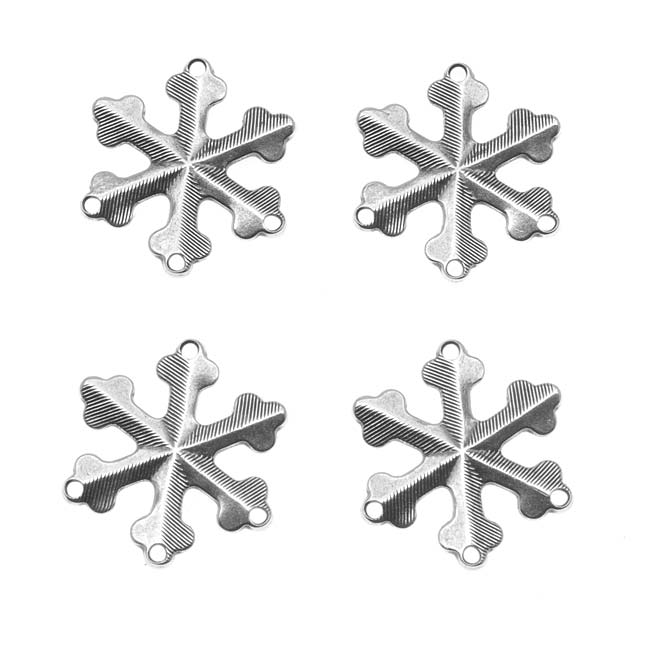 Antiqued Silver Plated Snowflake 3-Strand Reducer / Connector Beads 18mm (4)