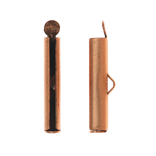 Nunn Design Ribbon Cord Ends, Barrel 24mm, 2 Pieces, Antiqued Copper