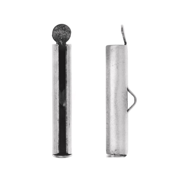 Nunn Design Ribbon Cord Ends, Barrel 24mm, 2 Pieces, Antiqued Silver