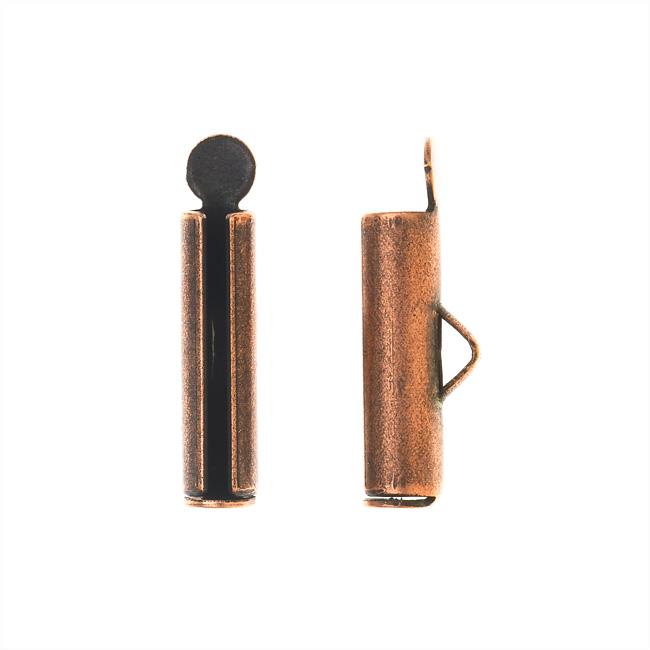 Nunn Design Ribbon Cord Ends, Barrel 17mm, 2 Pieces, Antiqued Copper