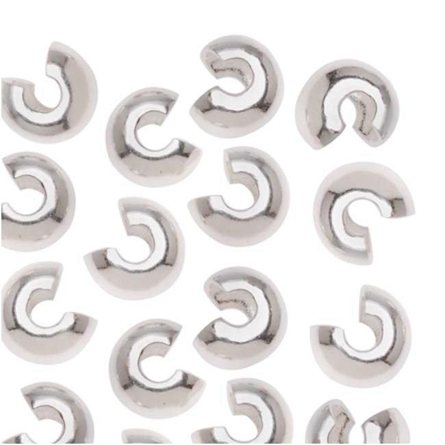 Shiny Silver Tone Crimp Bead Covers 4mm (x144)
