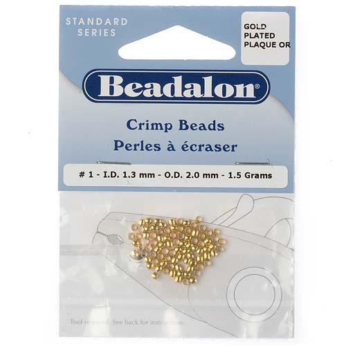 Beadalon Crimp Beads, 1.3mm, 85 Pieces, Gold Plated