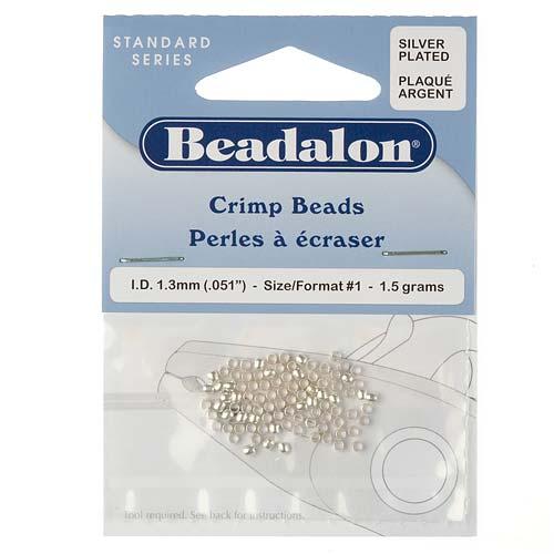 Beadalon Silver Plated Crimp Beads 1.3mm (95 Beads)
