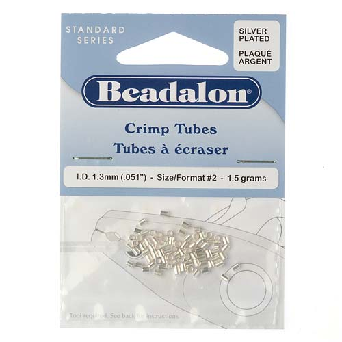 Beadalon Silver Plated Crimp Tubes 2x1.8mm 1.3mm ID (75 Beads)