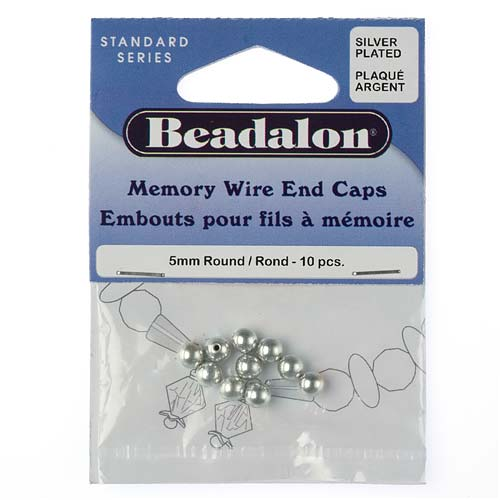Beadalon End Cap Beads for Memory Wire, Round Glue In 5mm, 10 Pieces, Silver Plated
