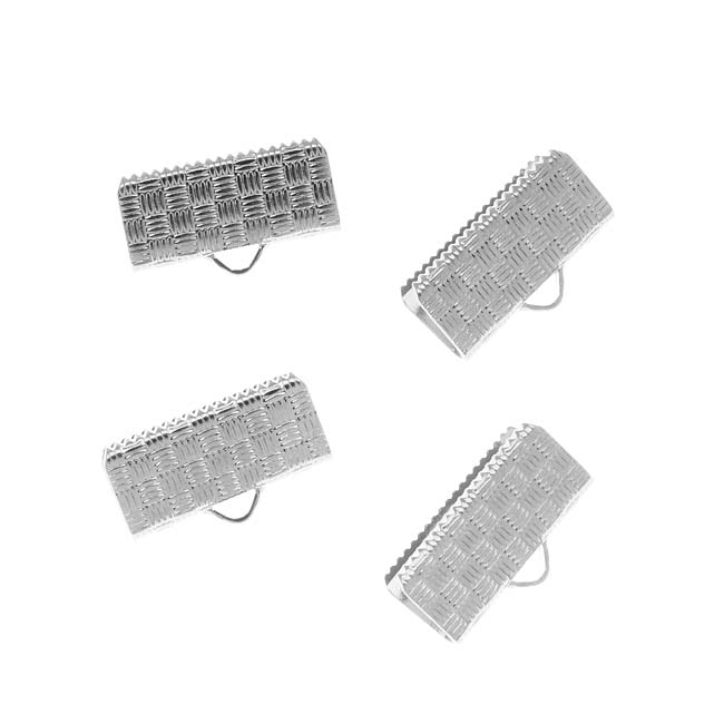 Cord Ends, Ribbon Pinch Crimp with Woven Texture 16.5mm, 4 Pieces, Silver Plated