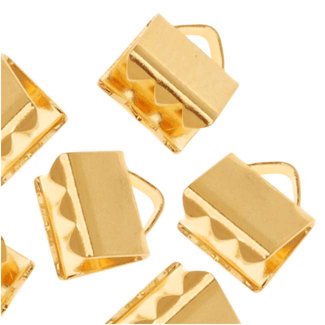 Gold Plated Ribbon Pinch Crimps Cord Ends 6 x 5mm (20)