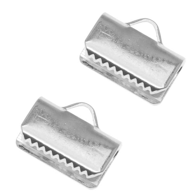 Cord Ends, Ribbon Pinch Crimp 10x5.5mm, 20 Pieces, Silver Plated
