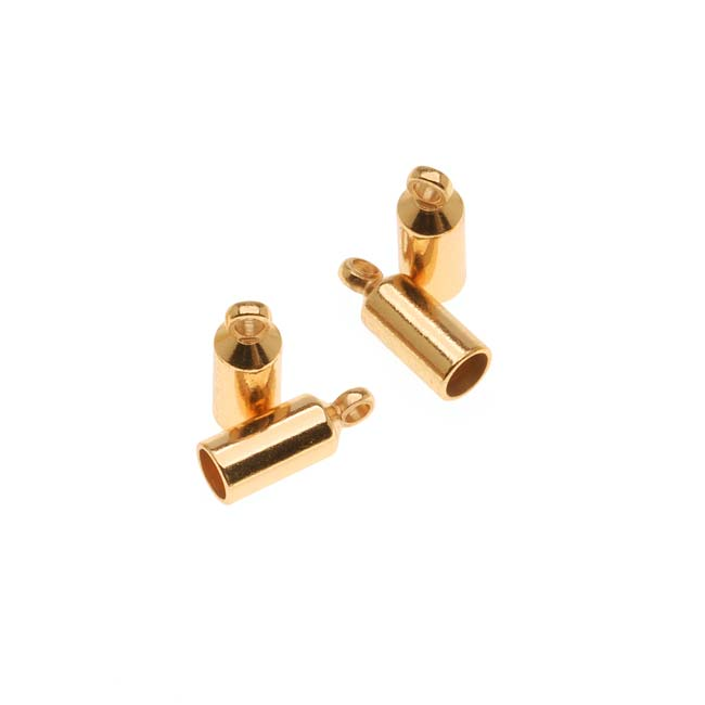 The Beadsmith Gold Plated Barrel Cord Ends With Ring 10mm Long - Fits Up To 3mm Cord (4)