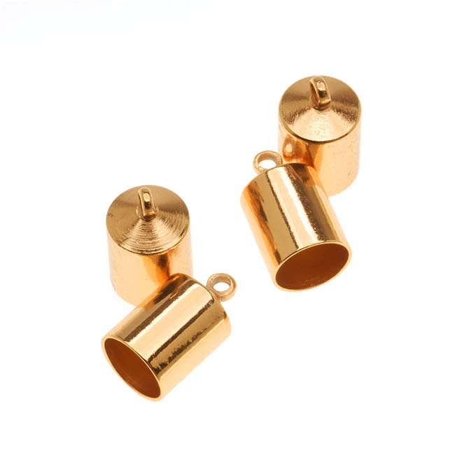 The Beadsmith Cord Ends, Barrel with Ring 12mm, Fits 6.5mm Cord, 4 Pieces, Gold Plated