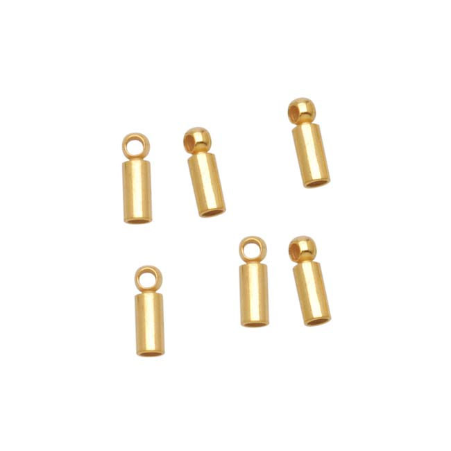 22K Gold Plated Barrel Cord Ends With Rings 6.5mm Long - Fits 1.2mm Cord (6)