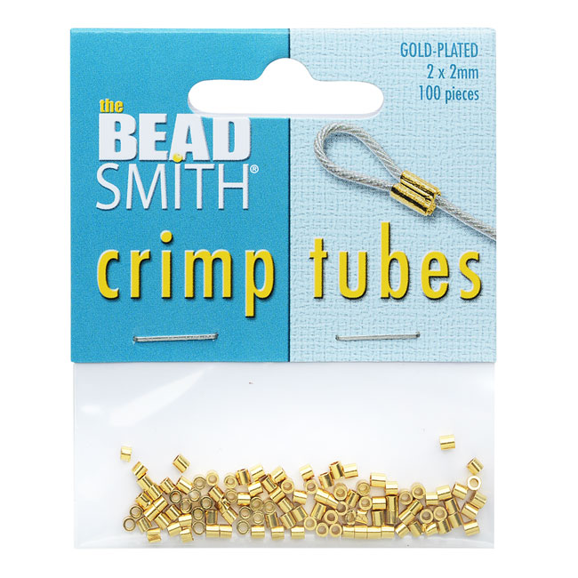The Beadsmith Crimp Tubes, 2x2mm, 100 Pieces, Gold Plated