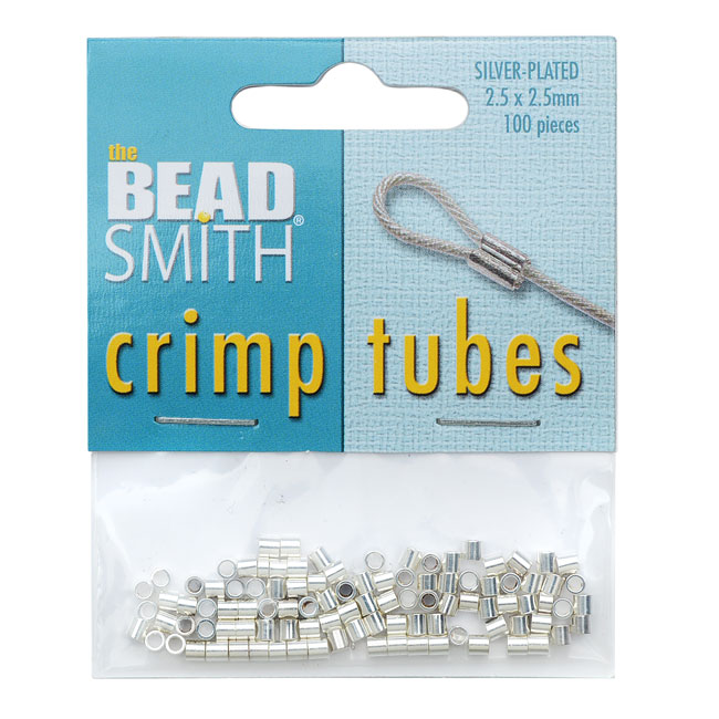 The Beadsmith Crimp Tubes, 2.5x2.5mm, 100 Pieces, Silver Plated