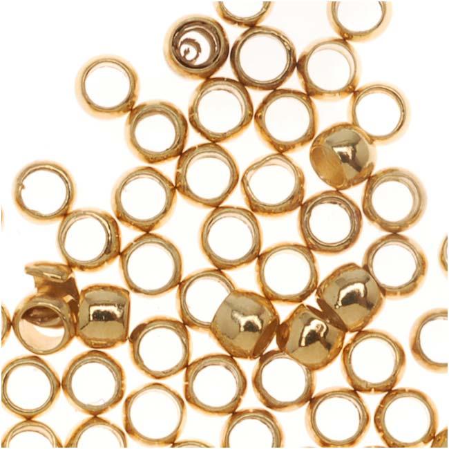 Final Sale - 22K Gold Plated Barrel Crimp Beads 1.5x2mm (100)