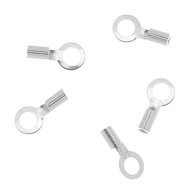 Sterling Silver Cord Ends / Crimp Beads With Loop 1.7mm x 2mm - 1mm Hole(10)