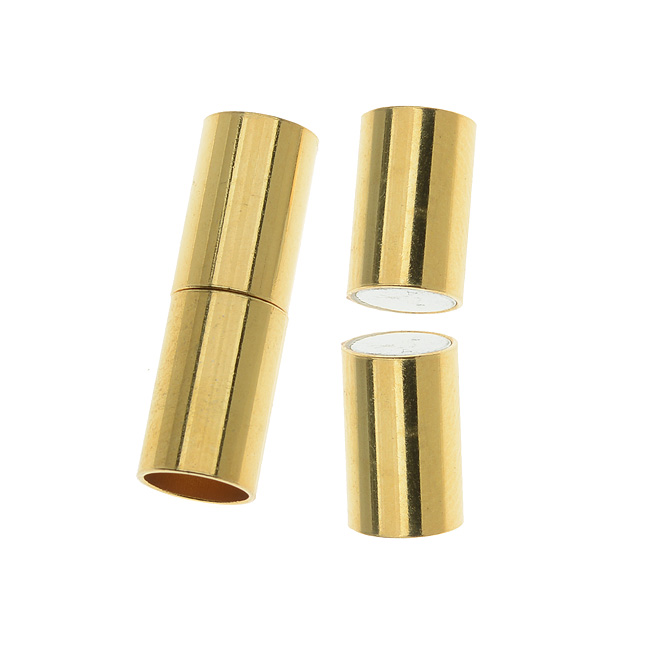 Magnetic Clasp, Tube Cord Ends Fits 6.2mm Cord, 1 Set, Gold Plated