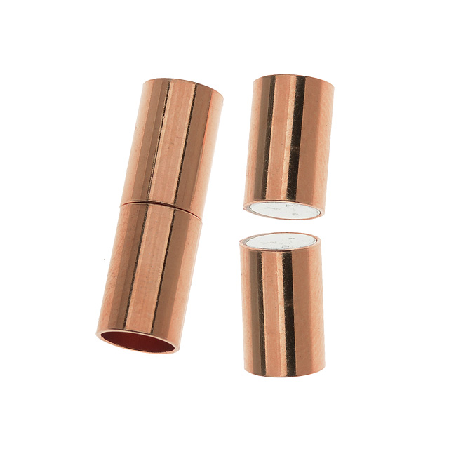 Magnetic Clasp, Tube Cord Ends Fits 6.2mm Cord, 1 Set, Copper Plated