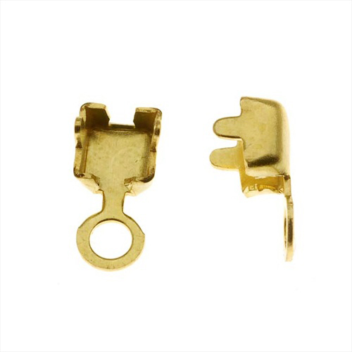 Gold Plated Foldover 18PP Cup Chain Crimp On Ends For Cup Chain  (20 Pieces)