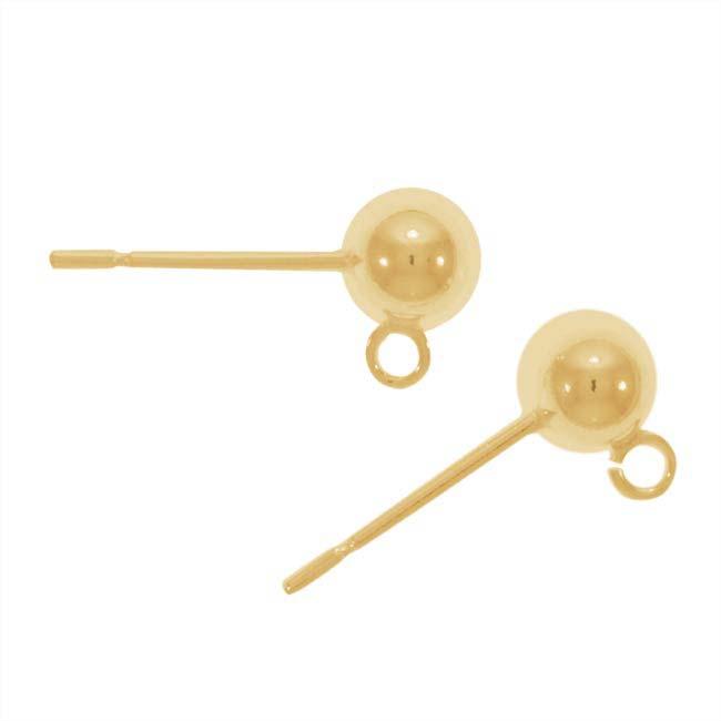 Gold Filled Stud Earrings Ball Post & Backs (1 Pair)
